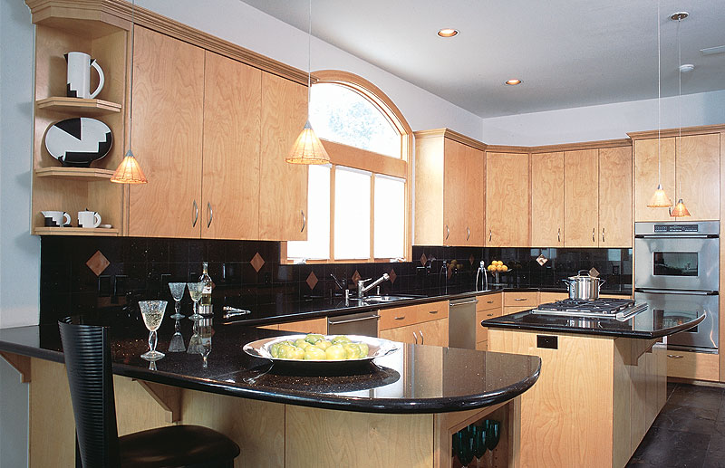 Photo gallery for White kitchen cabinets with black galaxy granite