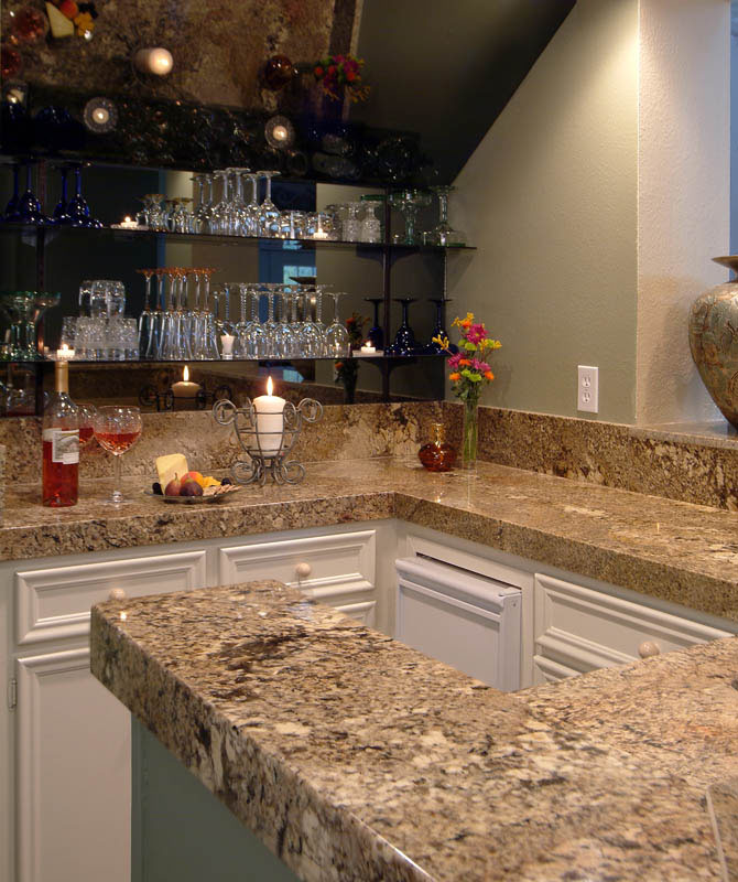 granite and marble wine bar
